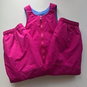 Lands End bib snow pants fleece lined pink Sz 2T